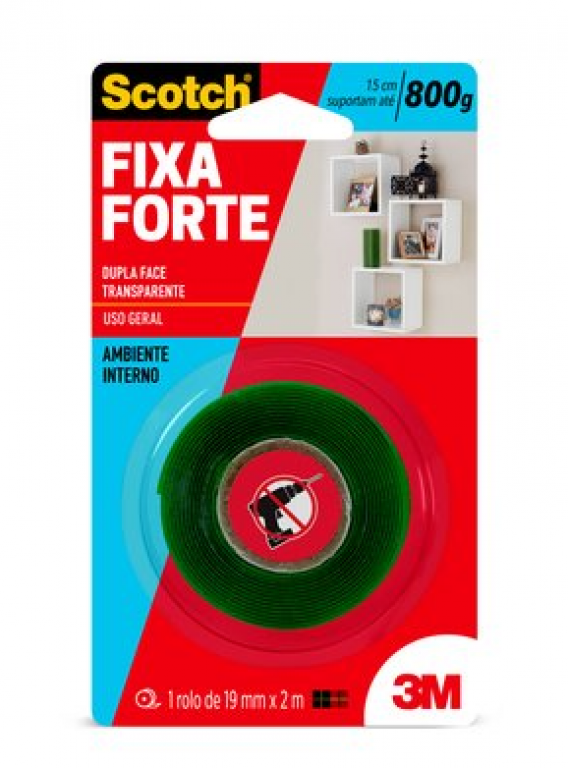 3M - FITA FIXA FORTE TRANSPARENTE 24MMX2M - UN