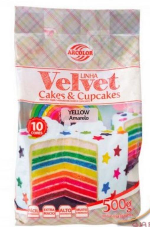 ARCOLOR - MISTURA CAKE E CUPCAKE VELVET AMARELO 500GR - UN