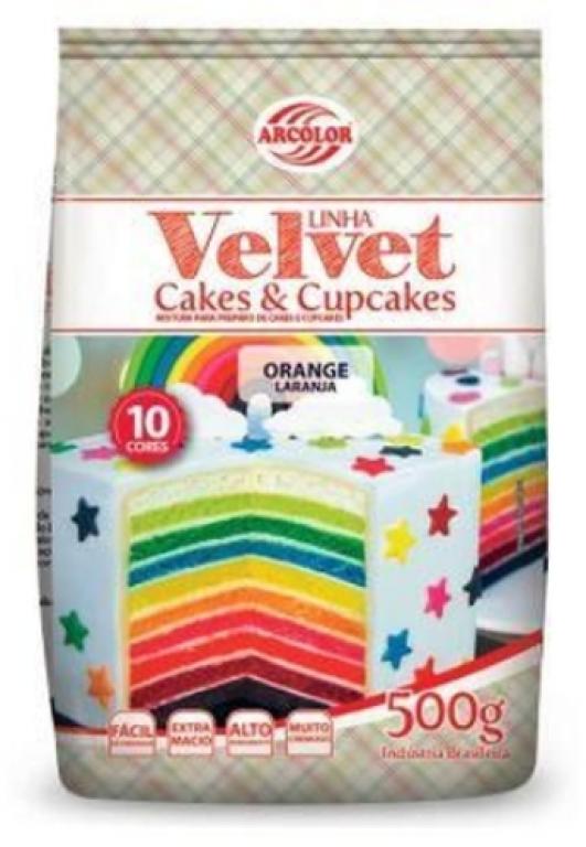 ARCOLOR - MISTURA CAKE E CUPCAKE VELVET LARANJA 500GR - UN