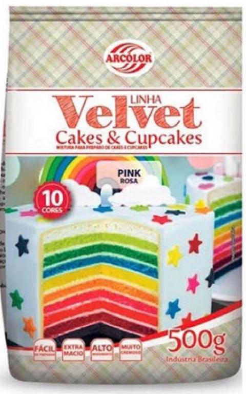 ARCOLOR - MISTURA CAKE E CUPCAKE VELVET PINK 500GR - UN
