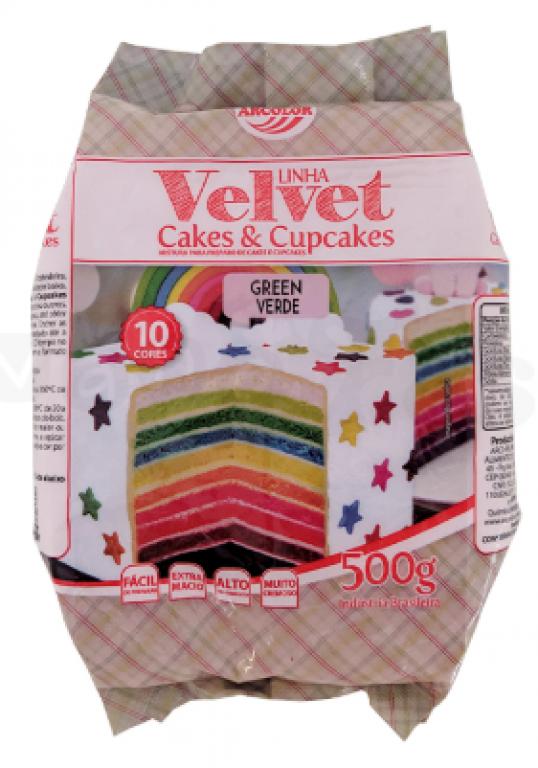 ARCOLOR - MISTURA CAKE E CUPCAKE VELVET VERDE 500GR - UN