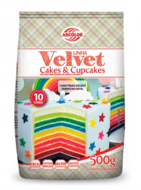 ARCOLOR - MISTURA CAKE E CUPCAKE VELVET VERMELHO 500GR - UN