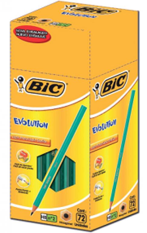 BIGNARDI - LAPIS PRETO C/BORRACHA EVOLUTION HEXAG BIC - CX.72UN