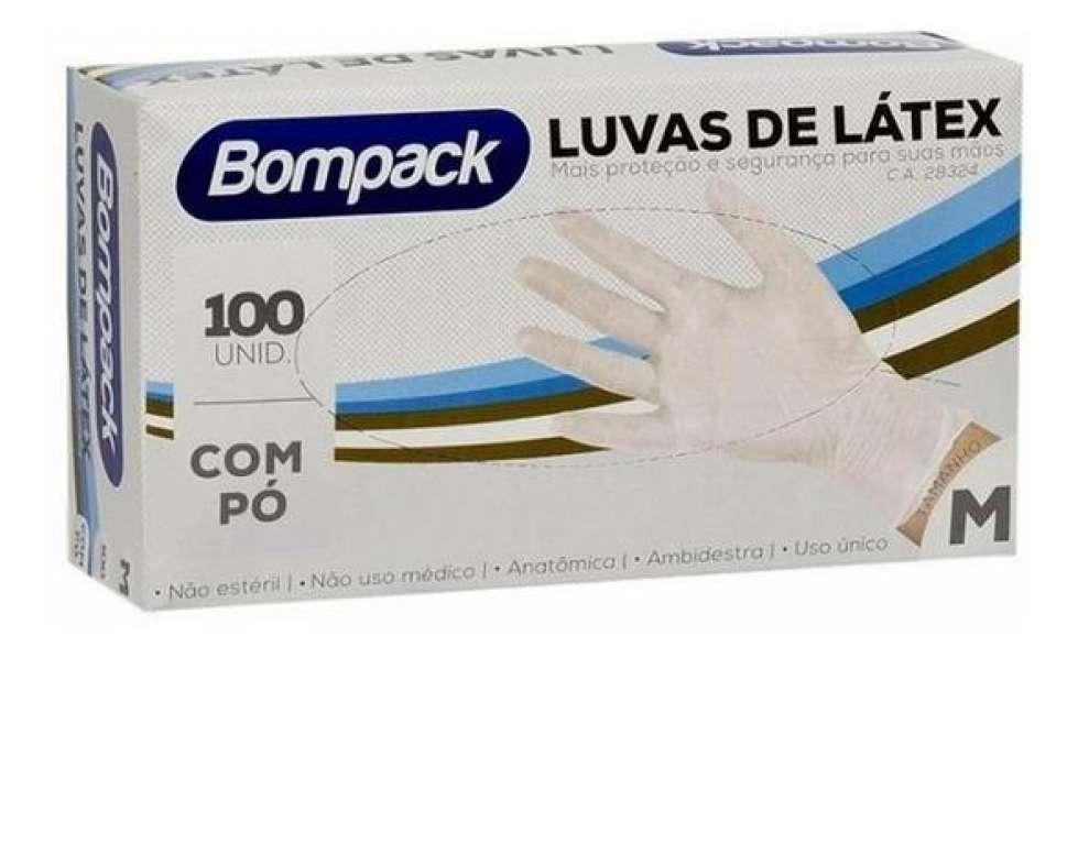 BOMPACK - LUVA LATEX COM PO (M) - CT.100UN