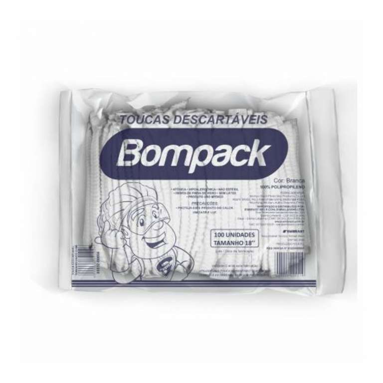 BOMPACK - TOUCA DESCARTAVEL TNT 18 GRS BRANCA - PT.100UN