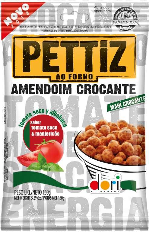 DORI - AMENDOIM PETTIZ CROCANTE TOMATE  SECO/MANJERICAO 150GR - CX.30UN