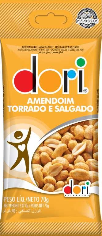 DORI - AMENDOIM TORRADO SALGADO S/PELE PT.70GR - CX.30UN