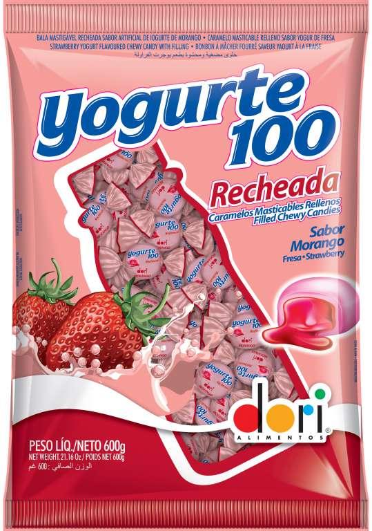 DORI - BALA YOGURTE100 MORANGO RECHEADA 600GR - UN