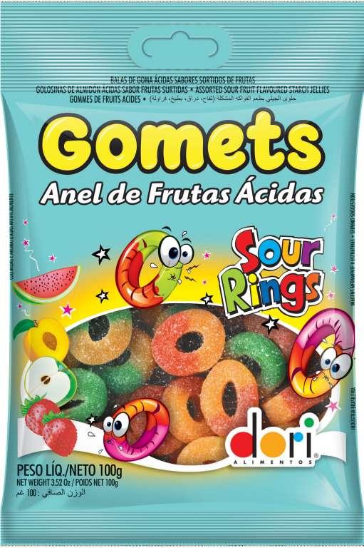 DORI - GOMETS GOMA ANEL ACIDO 100GR - CX.30UN
