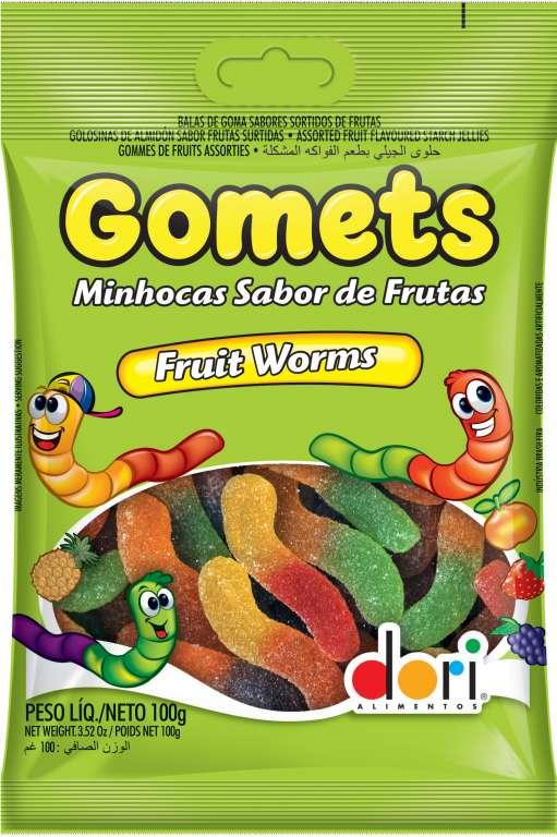 DORI - GOMETS GOMA MINHOCA ACIDA 100GR - UN