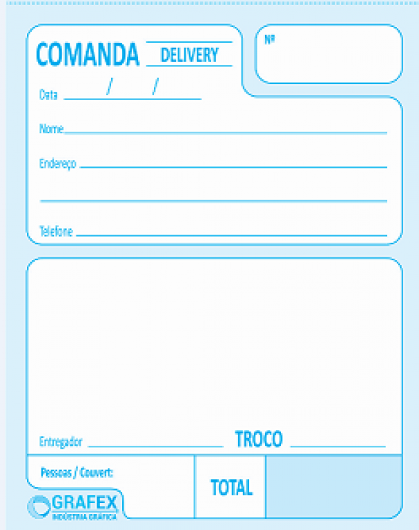 GRAFEX - COMANDA DELIVERY F025 NUMERADA AUTOCOPIATIVA- PT.10BLS