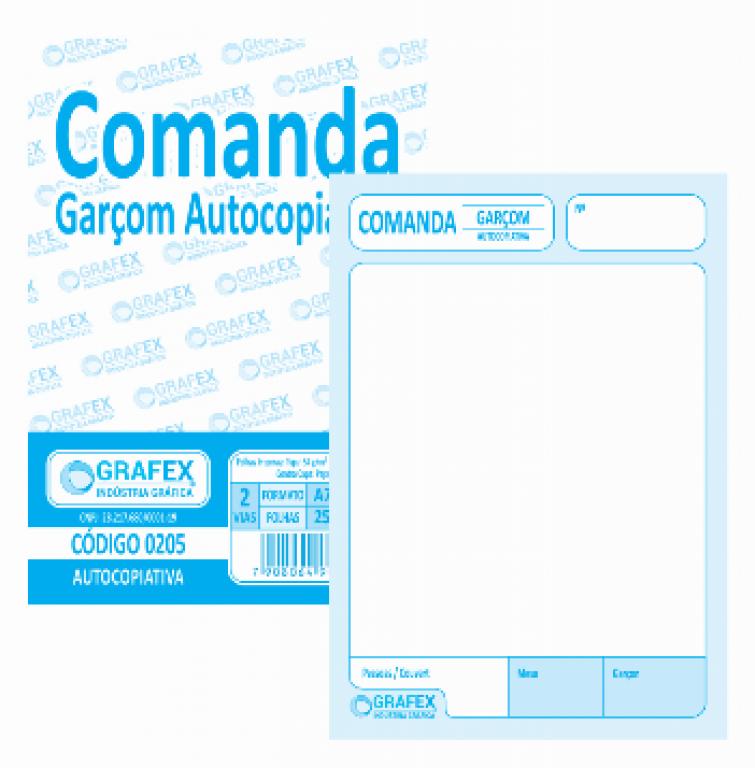 GRAFEX - COMANDA GARCOM AUTOCOPIATIVA F050 - PT.10BLS
