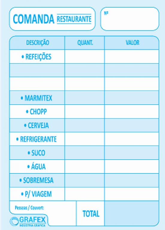 GRAFEX - COMANDA RESTAURANTE F050 - PT.10 BLS