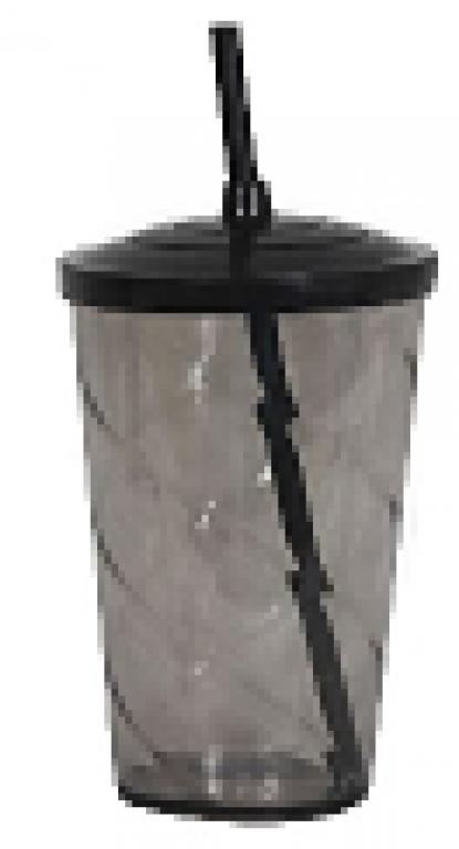JE PLAFER - COPO TWISTER C/ TAMPA 750ML CRISTAL FUME - CX.30UN