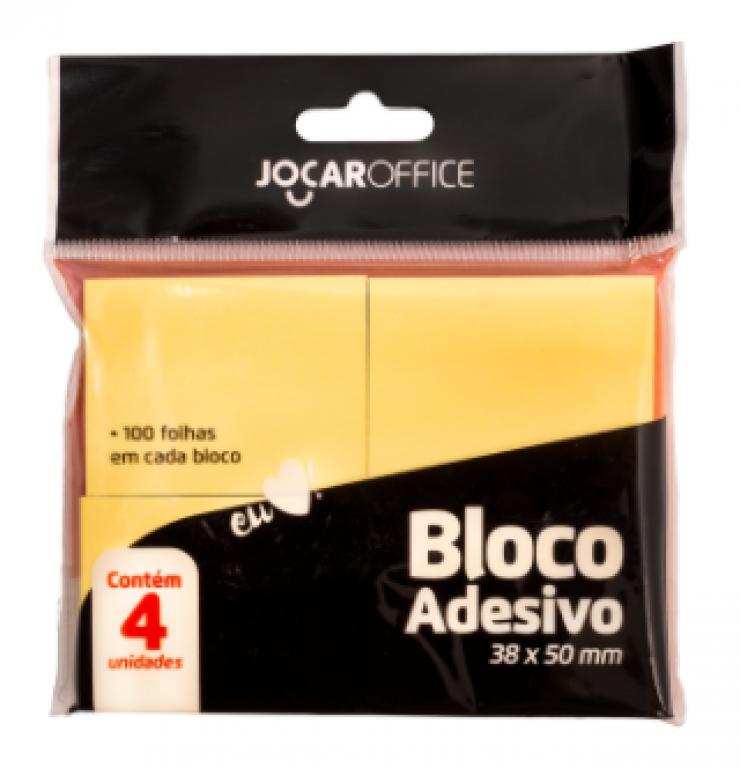 JOCAR OFFICE - BLOCO ADESIVO 38MMX50MM AMARELO 100FLS - PT.04UN