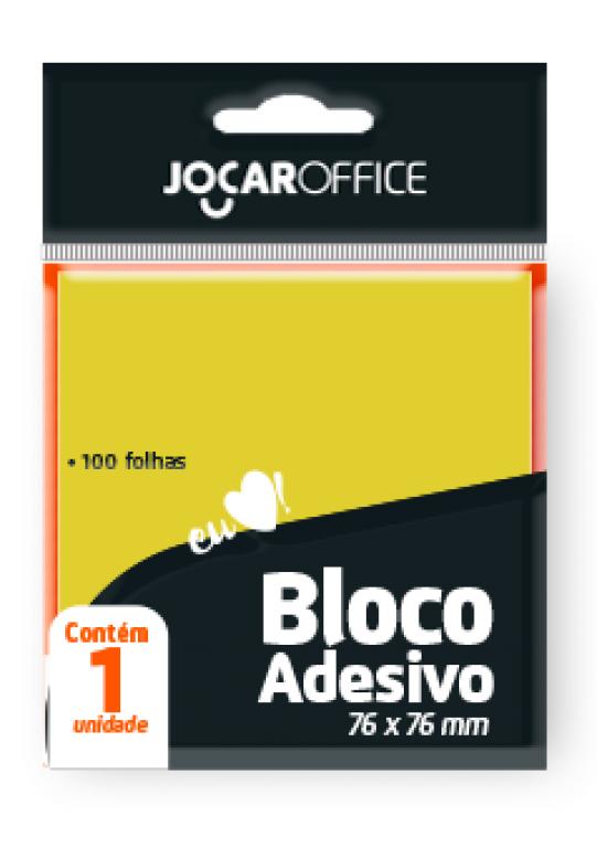 JOCAR OFFICE - BLOCO ADESIVO 76MMX76MM AMARELO 100FLS - CX.24UN
