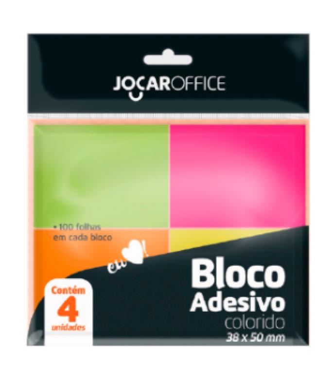 JOCAR OFFICE - BLOCO ADESIVO COLORIDO 38MMX50MM NEON 100FLS - CX.24X04UN