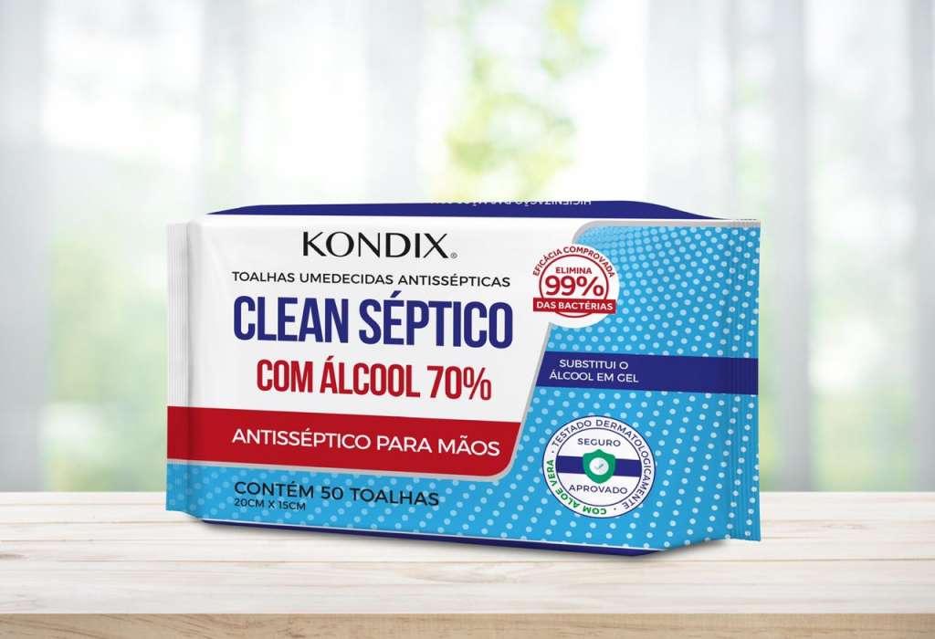 KONDIX - TOALHAS UMEDECIDAS ANTISSEPTICAS COM ALCOOL 70  REFIL - PT.50UN