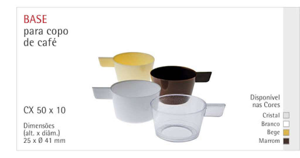 PLASTILANIA - BASE P/ COPO CAFE CRISTAL - PT.10UN