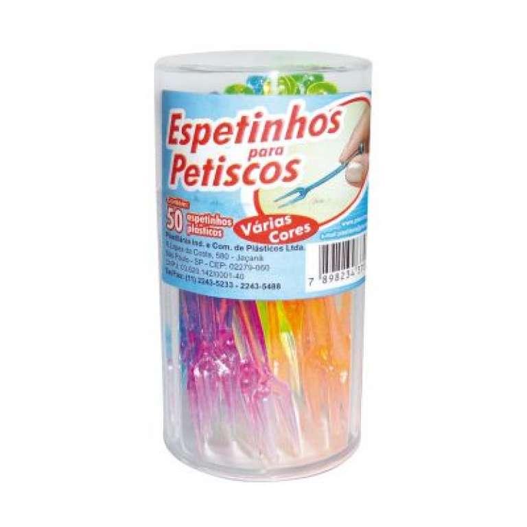PLASTILANIA - ESPETINHO PARA PETISCO NO POTE COLORIDO - PT.50UN