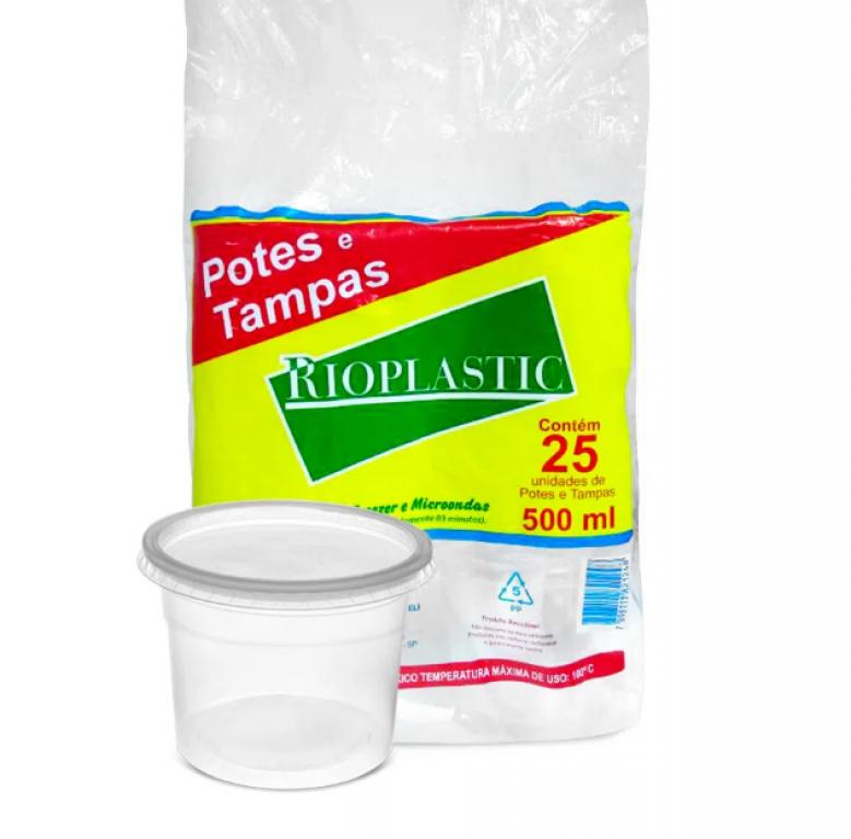 RIOPLASTIC - KIT POTE/SOBRETAMPA  500ML - CX.12X25UN