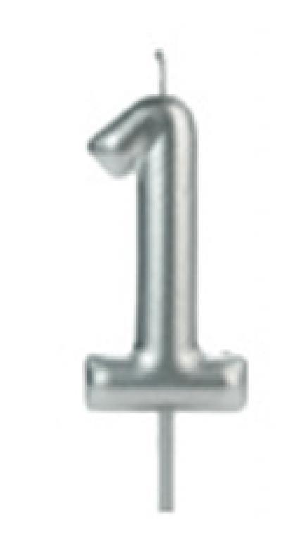 SILVER PLASTIC - VELA BIG METALIZADA PRATA N.1 - CX.12UN