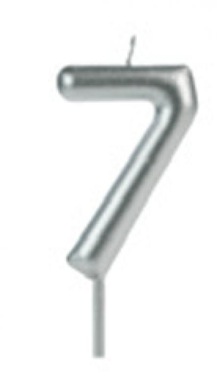 SILVER PLASTIC - VELA BIG METALIZADA PRATA N.7 - CX.12UN