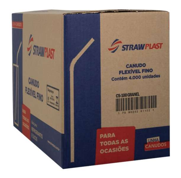STRAW - CANUDO FLEX VERMELHO 4,7MM (CS-100) GRANEL - CX.4000UN