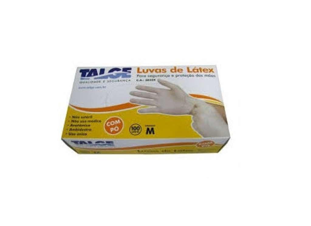 TALGE - LUVA LATEX COM PO (M) - CX.10X100UN
