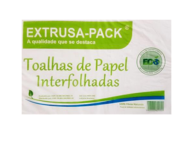 Papel Toalha Interfolha - Branco 1 - ECO - Extrusa-Pack