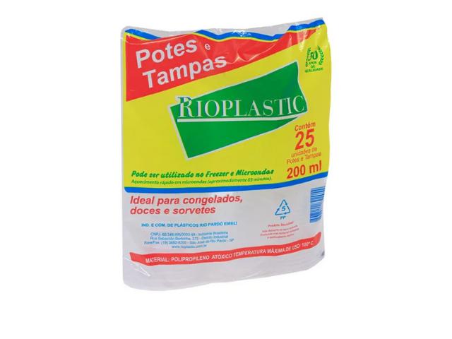 Pote com tampa - 250 ml - Rioplastic
