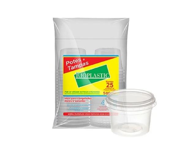 Pote com tampa - 500 ml - Rioplastic